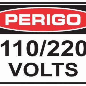 PLACA VOLTAGEM 110 VOLTS EM POLIESTIRENO  5×25 cm