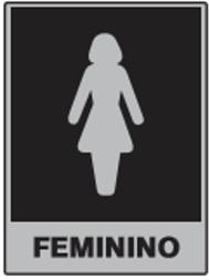 PLACA SANITÁRIO FEMININO EM ALUMÍNIO